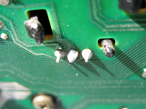The repair: re-solder the joints